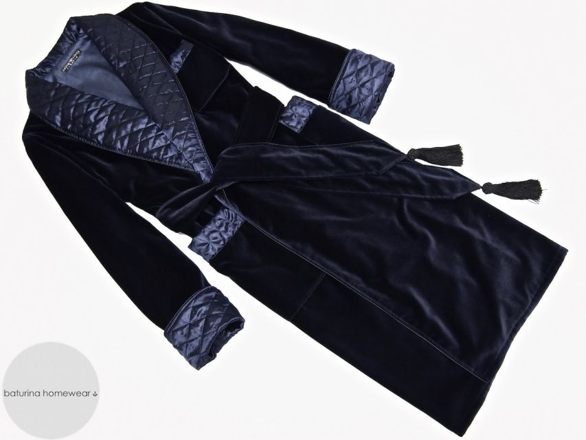 Very warm navy blue cotton velvet luxury dressing gown for men. Pure cotton  lined soft smoking jacket robe with quilted silk shawl collar and cuffs. c72a93e0a