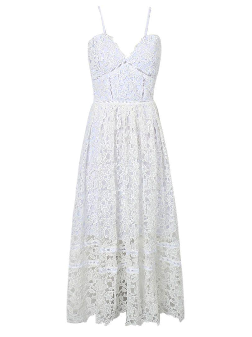 58a639f3cc8 White Spaghetti Strap Crochet Lace Midi Dress