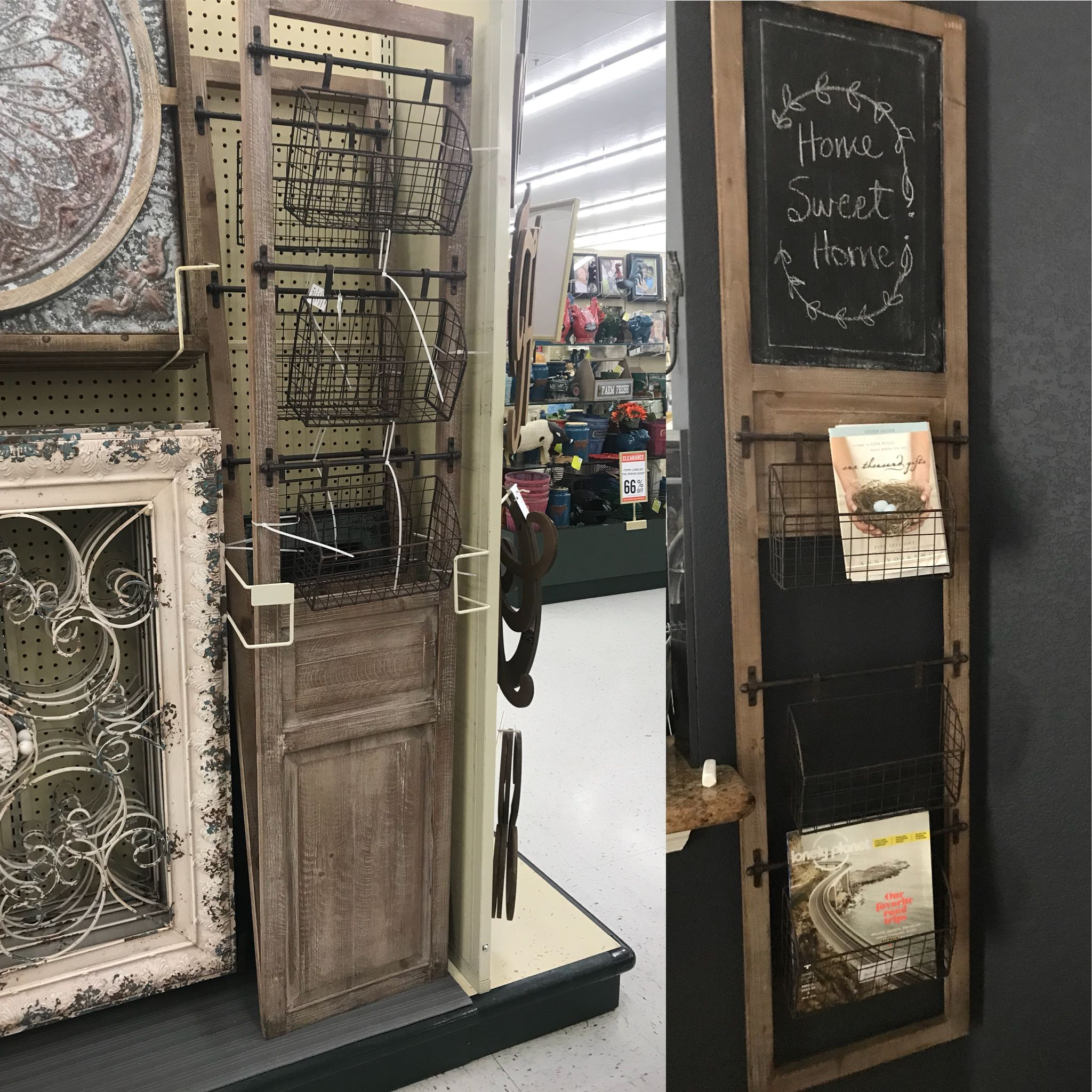 Hobby Lobby Hack Turn This Upside Down Paint Panel With Chalkboard Paint Reposition The Bottom Basket Or Eliminat Painted Paneling Chalkboard Paint Paneling