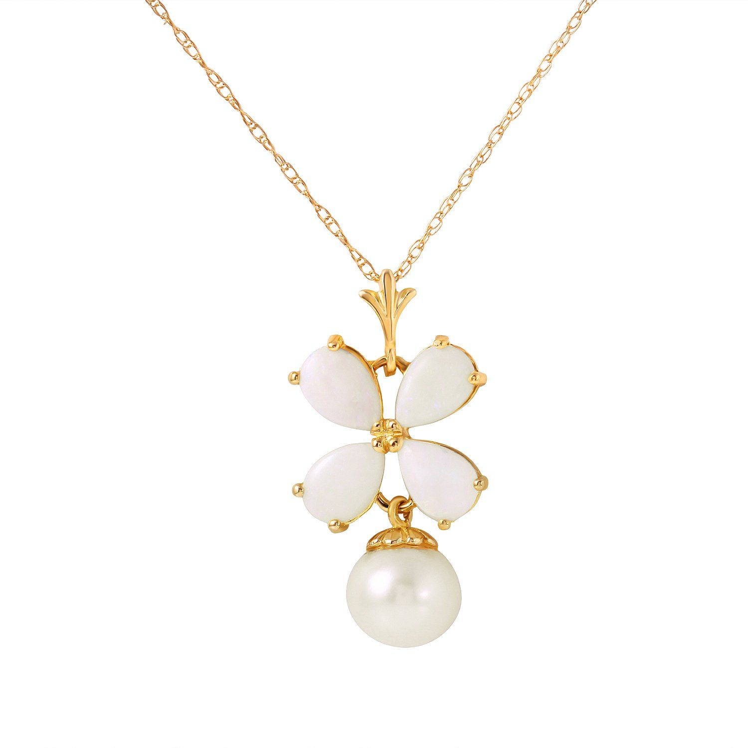 Ladies 14K Solid Gold Deco Blanc Opal Pearl Necklace