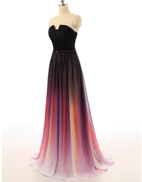 e57877be1d9 New Cheap Gradient Ombre Chiffon Prom Dress Evening Dress Strapless With  Pleats Women Dress on Luulla