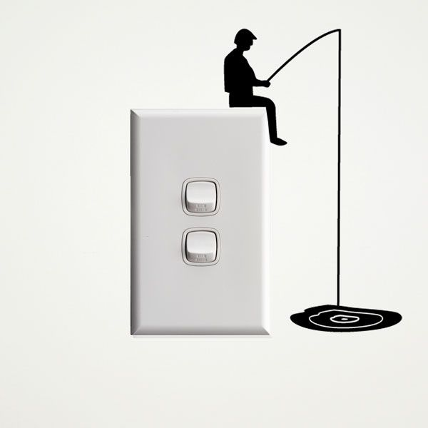 fisherman wall sticker for light switches light switches