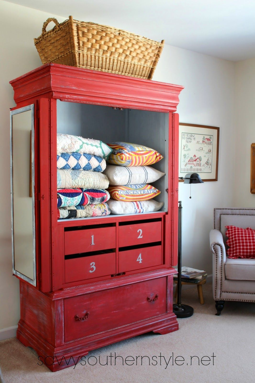 Red China Cabinet Makeover