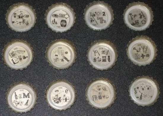 80b501be0ec Rebus under each Lionshead bottle cap of beer!