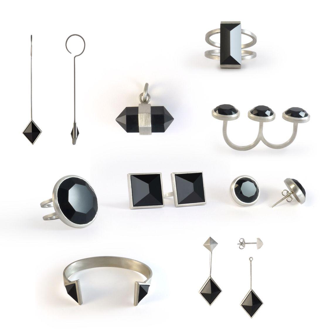 Geometric and Minimal jewelry / silver + black quartz / Liê