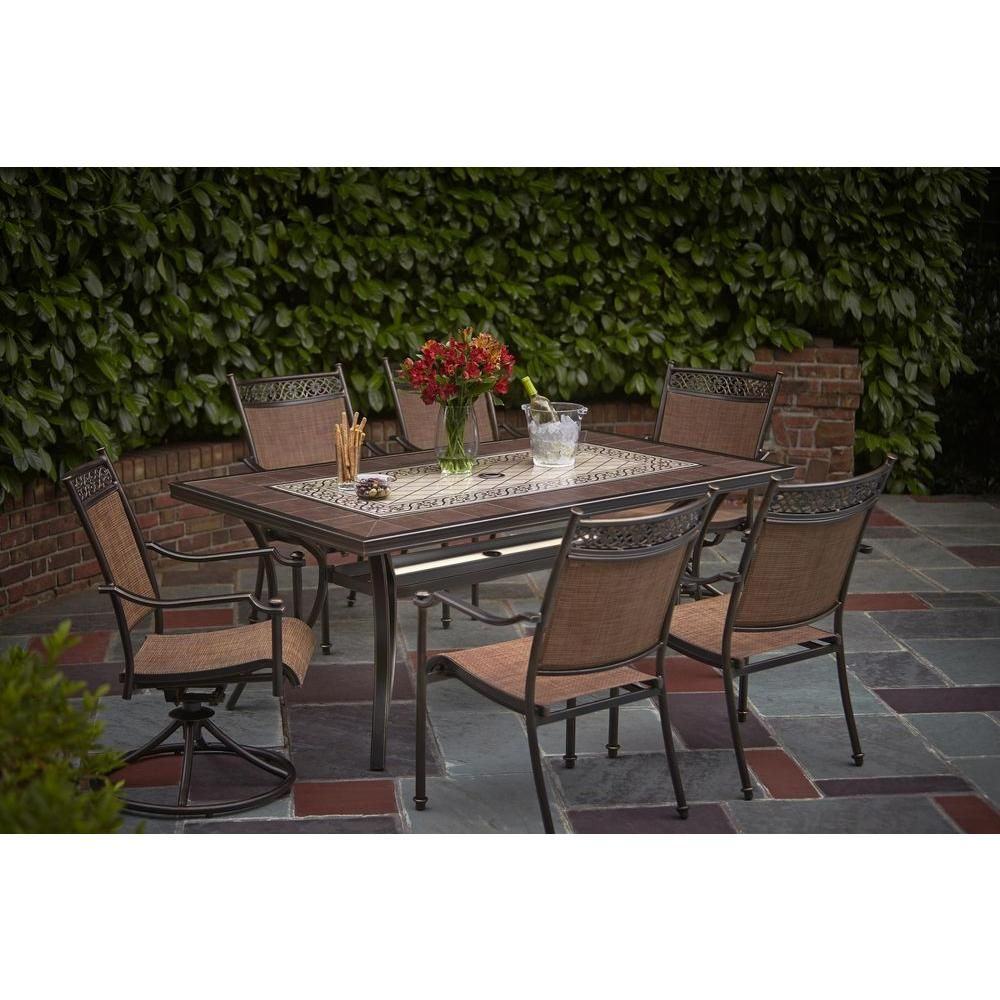 Hampton bay niles park led lighted glass top patio dining table alh19892k01 the home depot