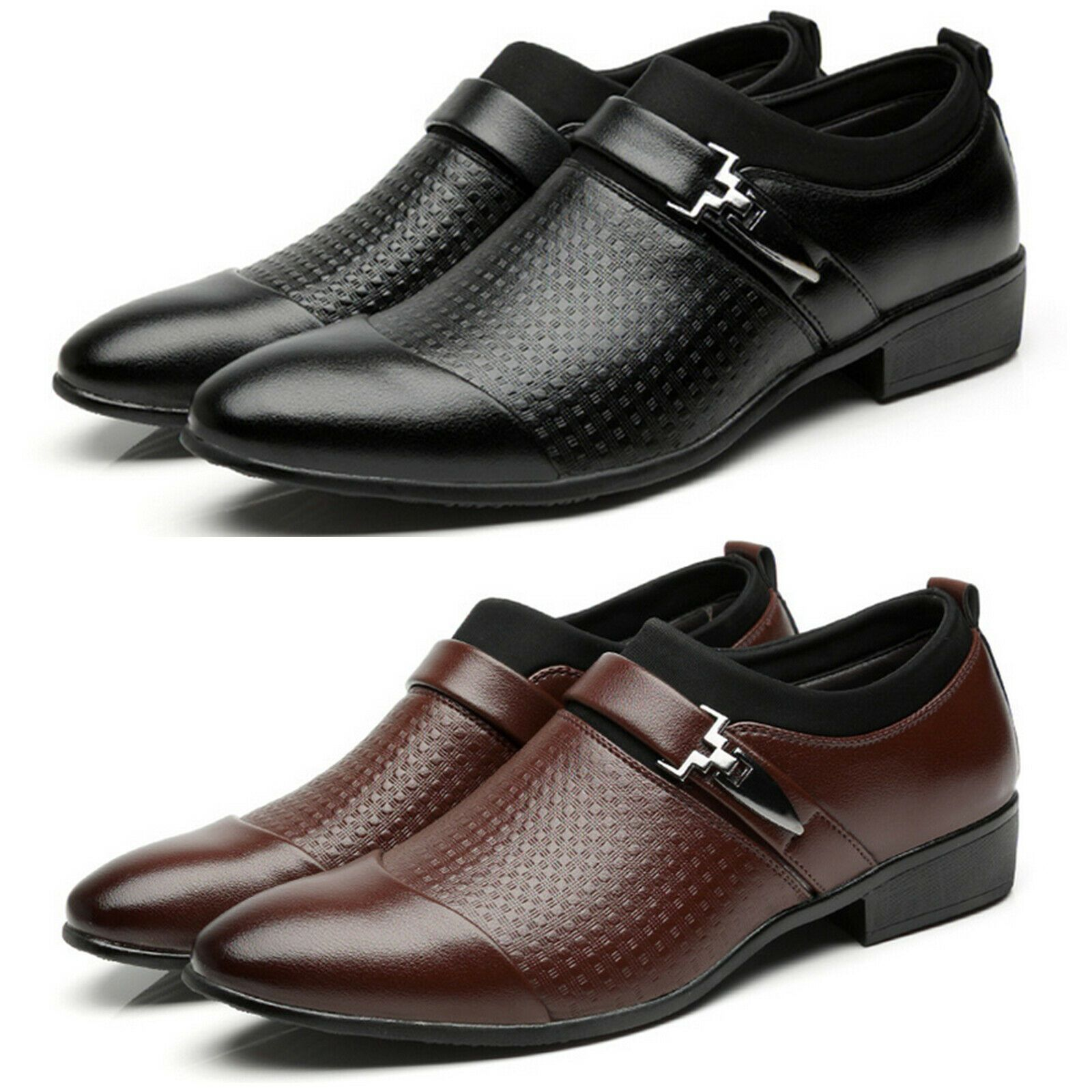 Mens Smart Tuxedo Dress Shoes Formal Wedding Office Pointed Toe Slip On Loafers