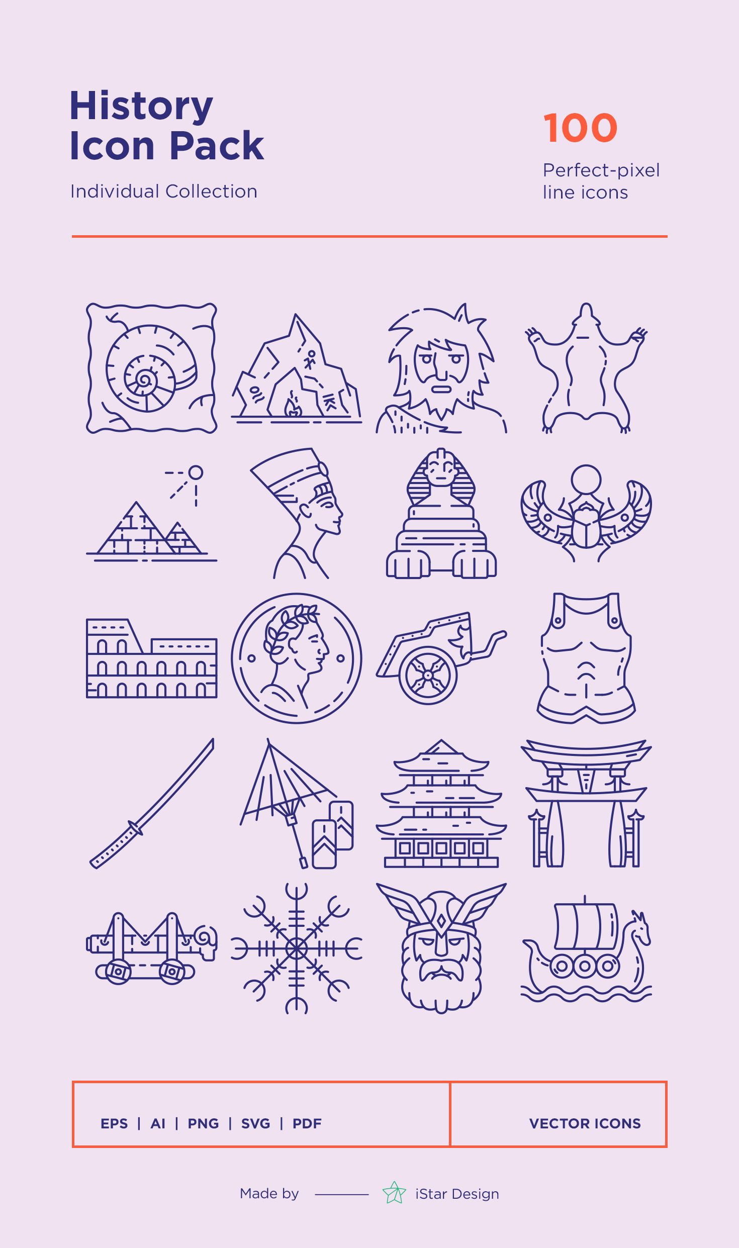 Photo of Download History Line Icons Set made by iStar Design. Series of 100 pixel-perfec…
