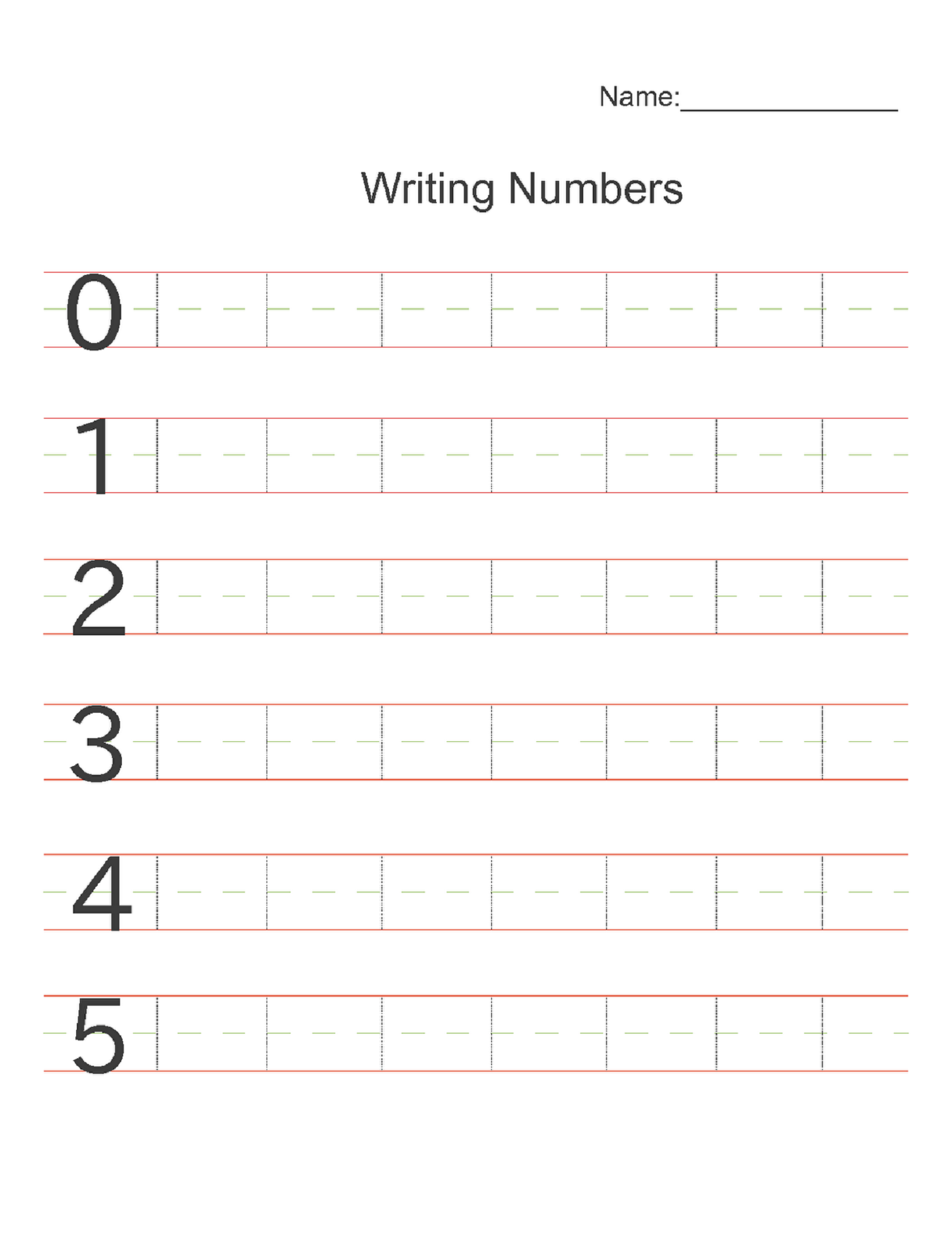 Writing Numbers Worksheet For Basic Mathematics