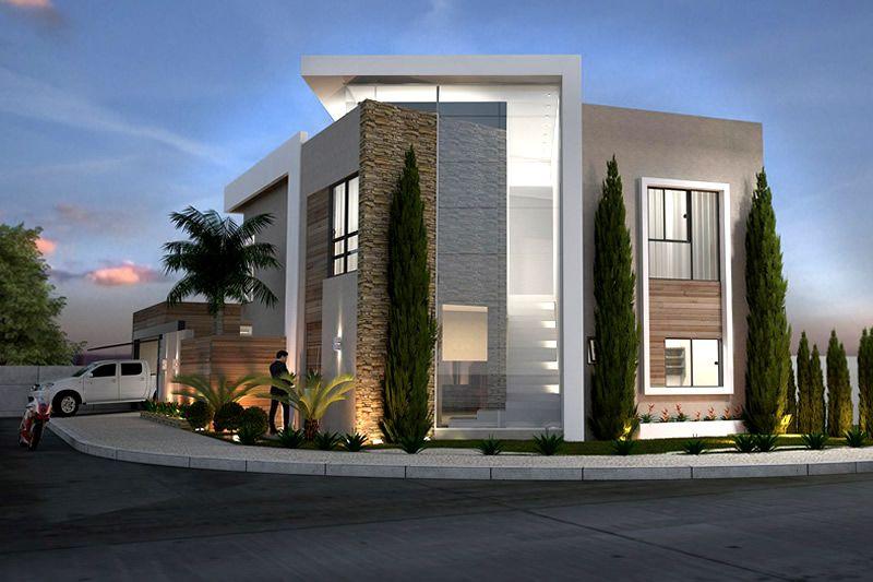 Fachada de sobrado de esquina muros pinterest for Fachadas de casas modernas de 6 metros