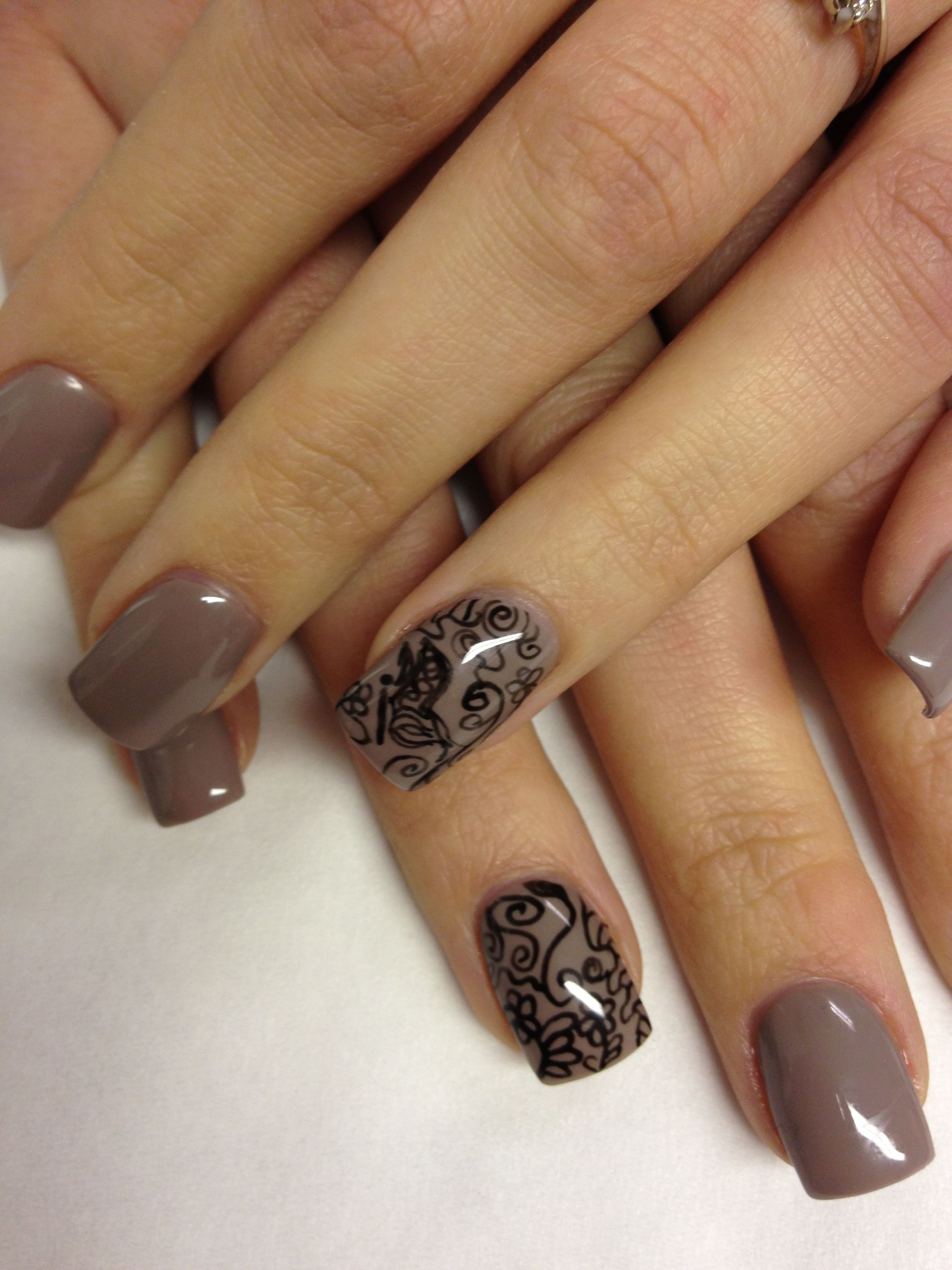 Orly gel fx county club khaki on acrylic nno with doodle ring finger ...