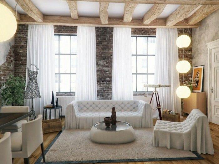 ideen für wandgestaltung wohnzimmer ziegelwand weiße gardinen ...