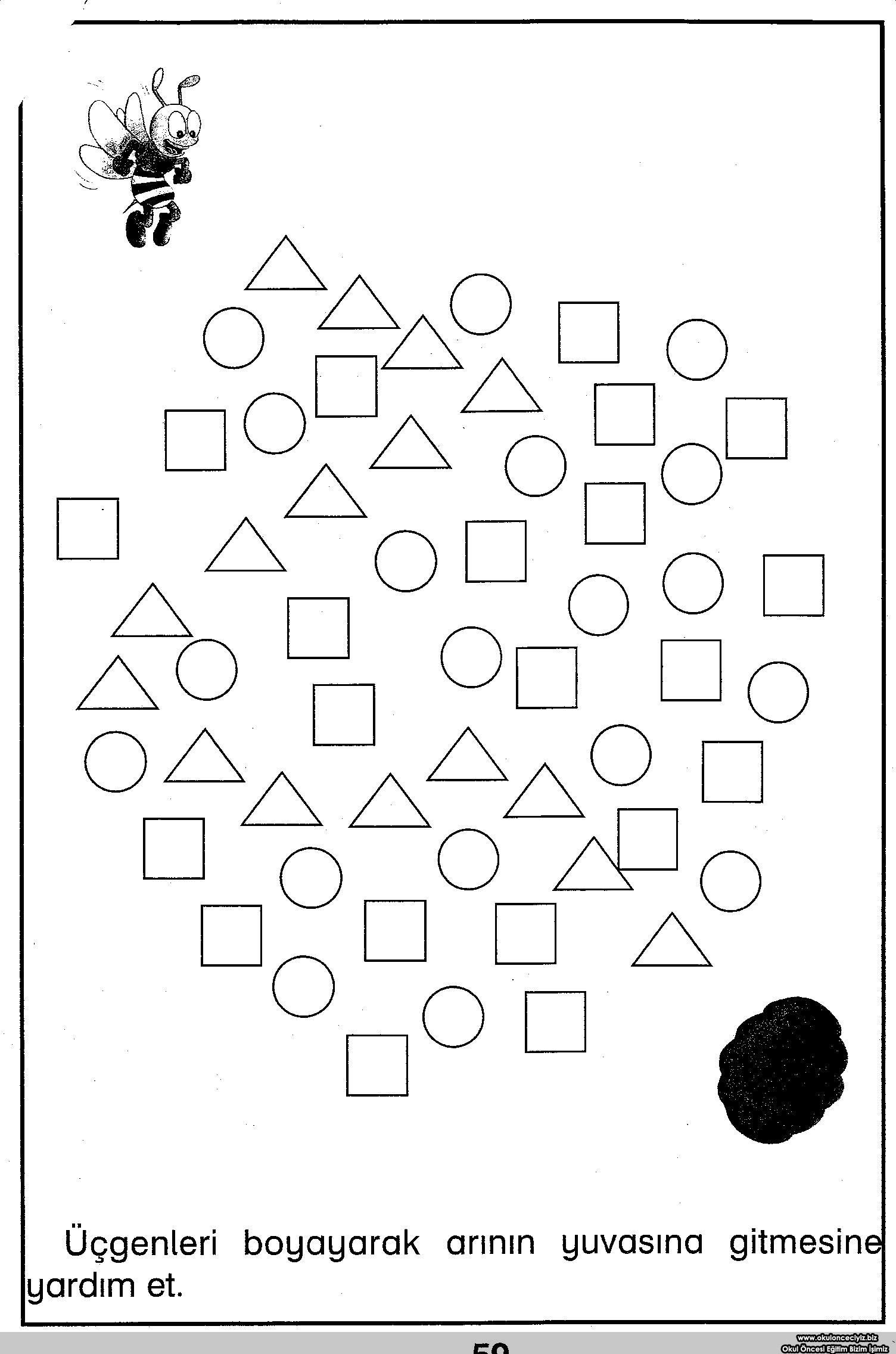 Printable Shape Maze Worksheet For Kids