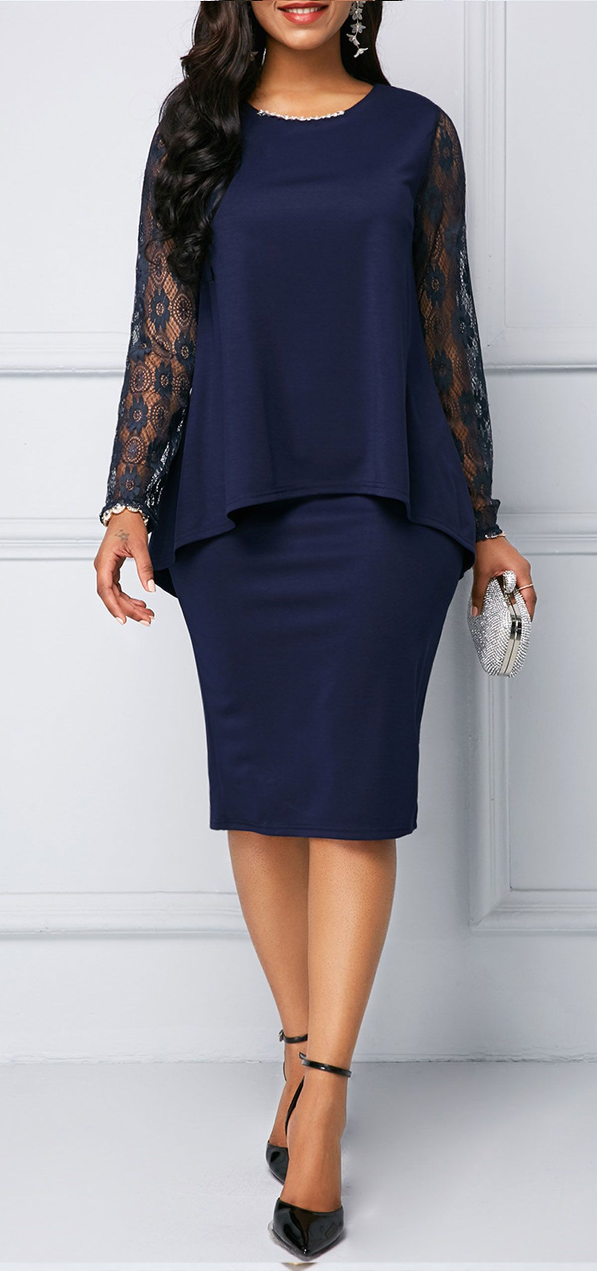 e7649feeaf Lace Panel Bowknot Back Navy Blue Overlay Embellished #Dress. Shop ...