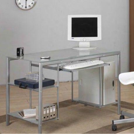 Escritorio y mesa juvenil metálico con el sobre de cristal | Escritorio juvenil | Mesa ordenador