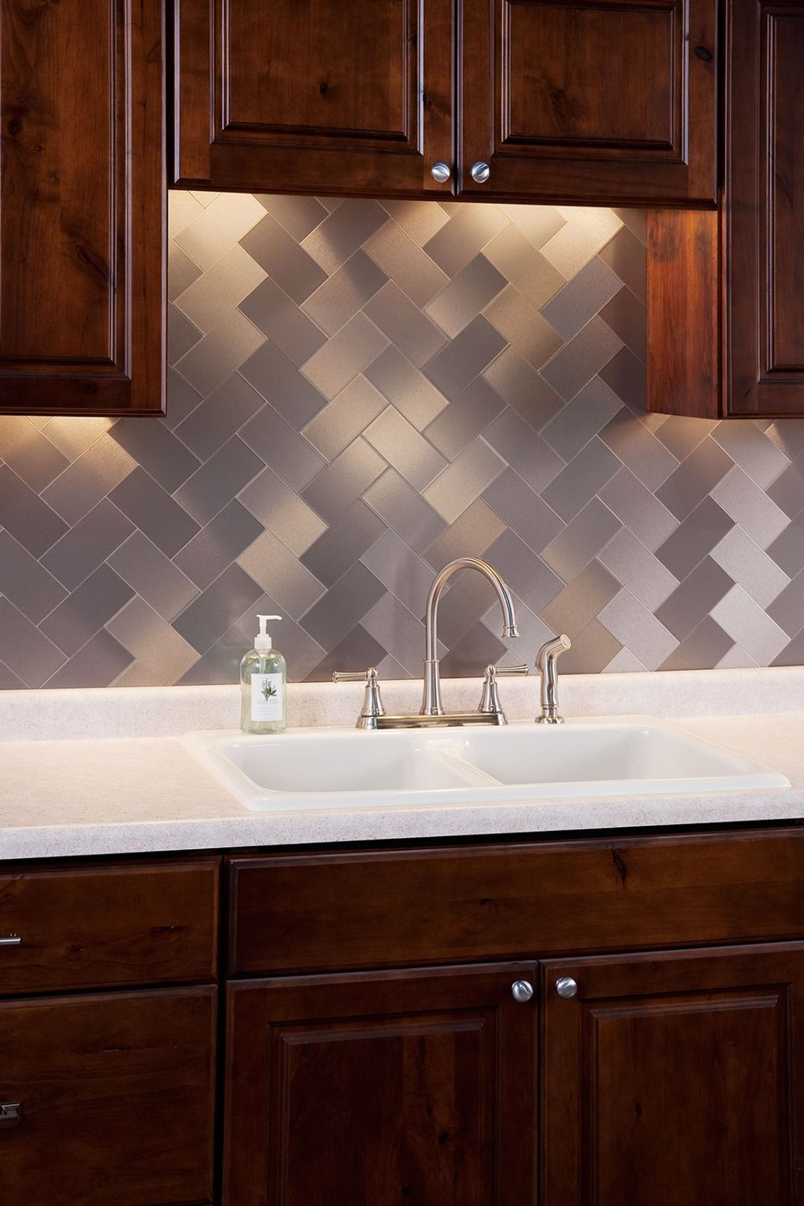 Aspect is a decorative metal, peel and stick tile, which