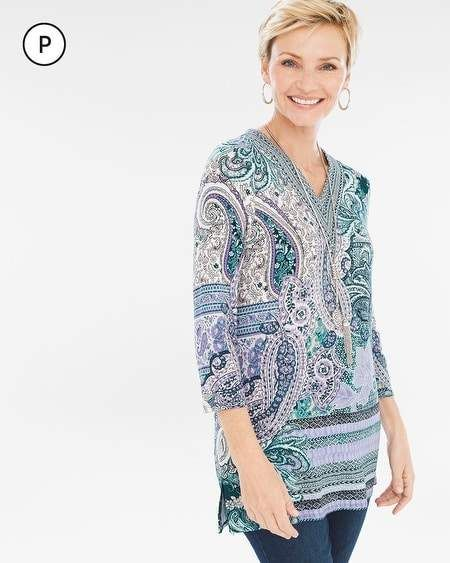0a9586b52 Petite Villa Paisley V-Neck Top in 2019 | Products | Tops, V neck ...