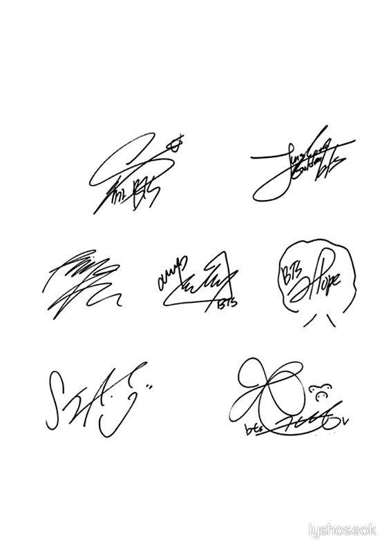 BTS SIGNATURES | Spiral Notebook in 2019 | K - Pop | Bts signatures
