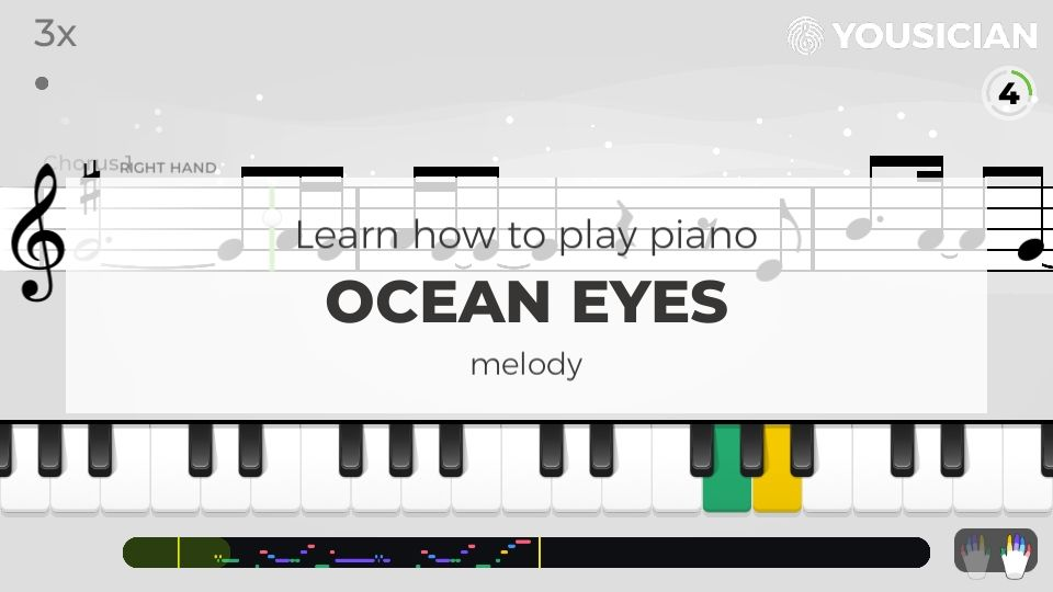 Choose A Piano Exercise For A Preview Of How Ocean Eyes By Billie