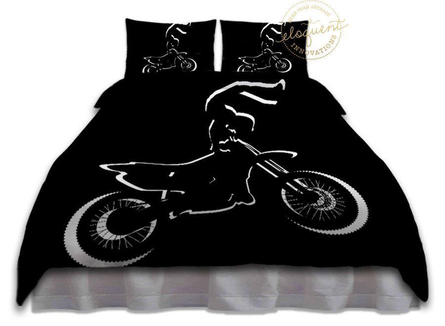 Dirt Bike Bedding For Boys Duvet Cover Motocross Black