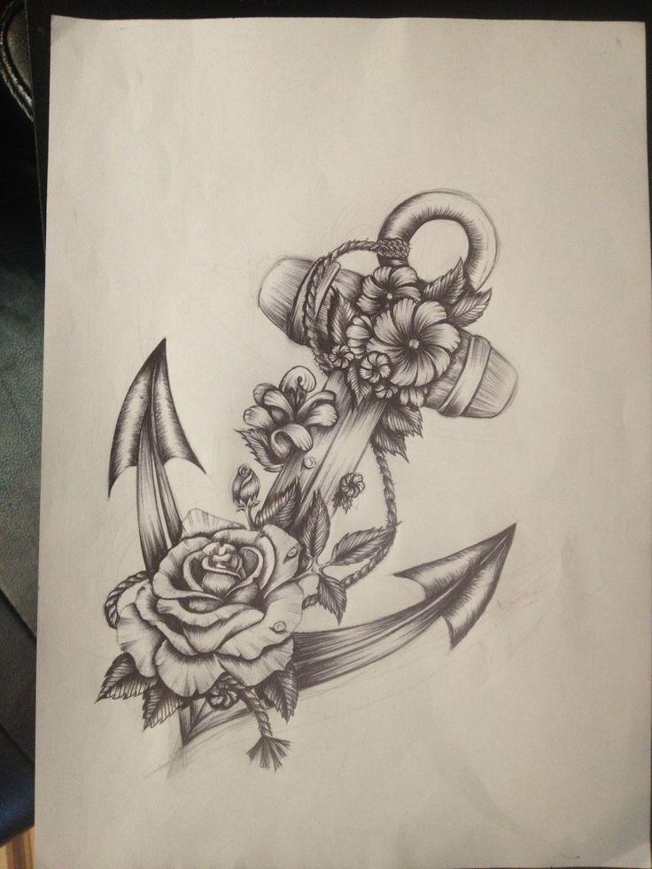 anker und rosen gemacht in stift tattoos anker tattoo design blumen tattoo schulter tattoos fu