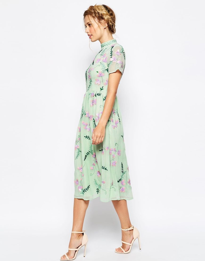 Image 4 Of Frock And Frill All Over Embellished Floral Full Prom Midi Dress