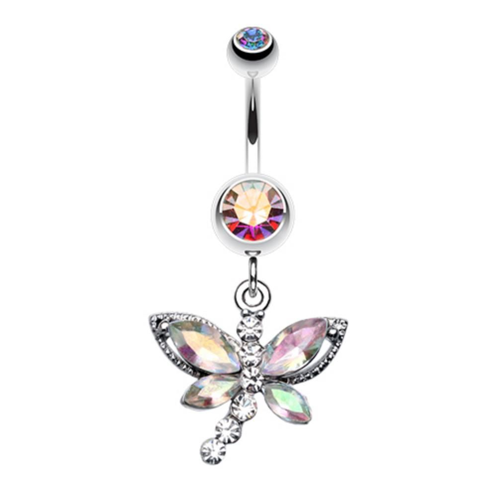 Glam Butterfly Fall Fancy Belly Button Ring 1.6mm 14 GA - Sold Individually