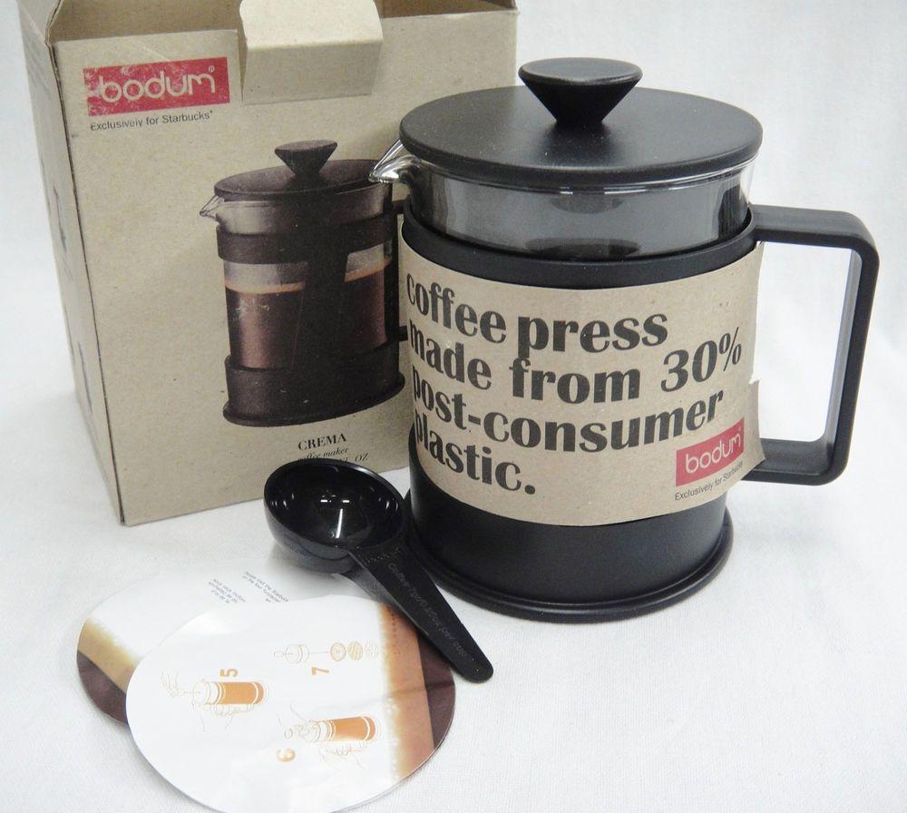 Bodum Starbucks Crema Coffee Maker French Press 4 Cup New