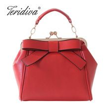 Women Red and Black Shoulder Bags Vintage Bow Messenger Bag Shoulder Handbag Metal Frame Bag Women Small Tote Bag Zipper Bolsos