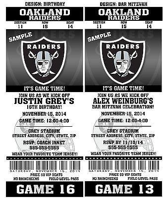 Printable Oakland Raiders Nfl Football Birthday Party Invitations