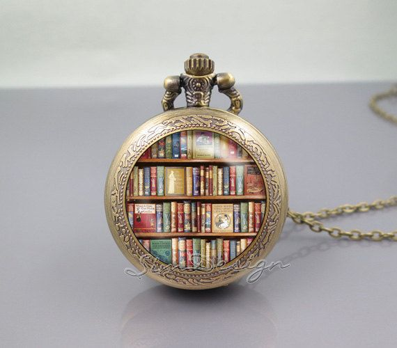 Bookshelf pocket watch locket necklacebook library books lovers bookshelf pocket watch locket necklacebook library books lovers authorvintage pendant pocket watch aloadofball Image collections