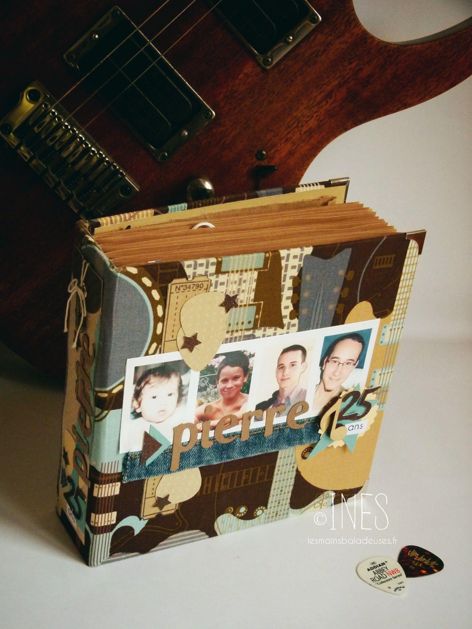 Album scrapbooking anniversaire masculin thème guitare / musique. / Scrapbooking album for a man's birthday, guitar and music theme.  https://www.facebook.com/lesmainsbaladeuses