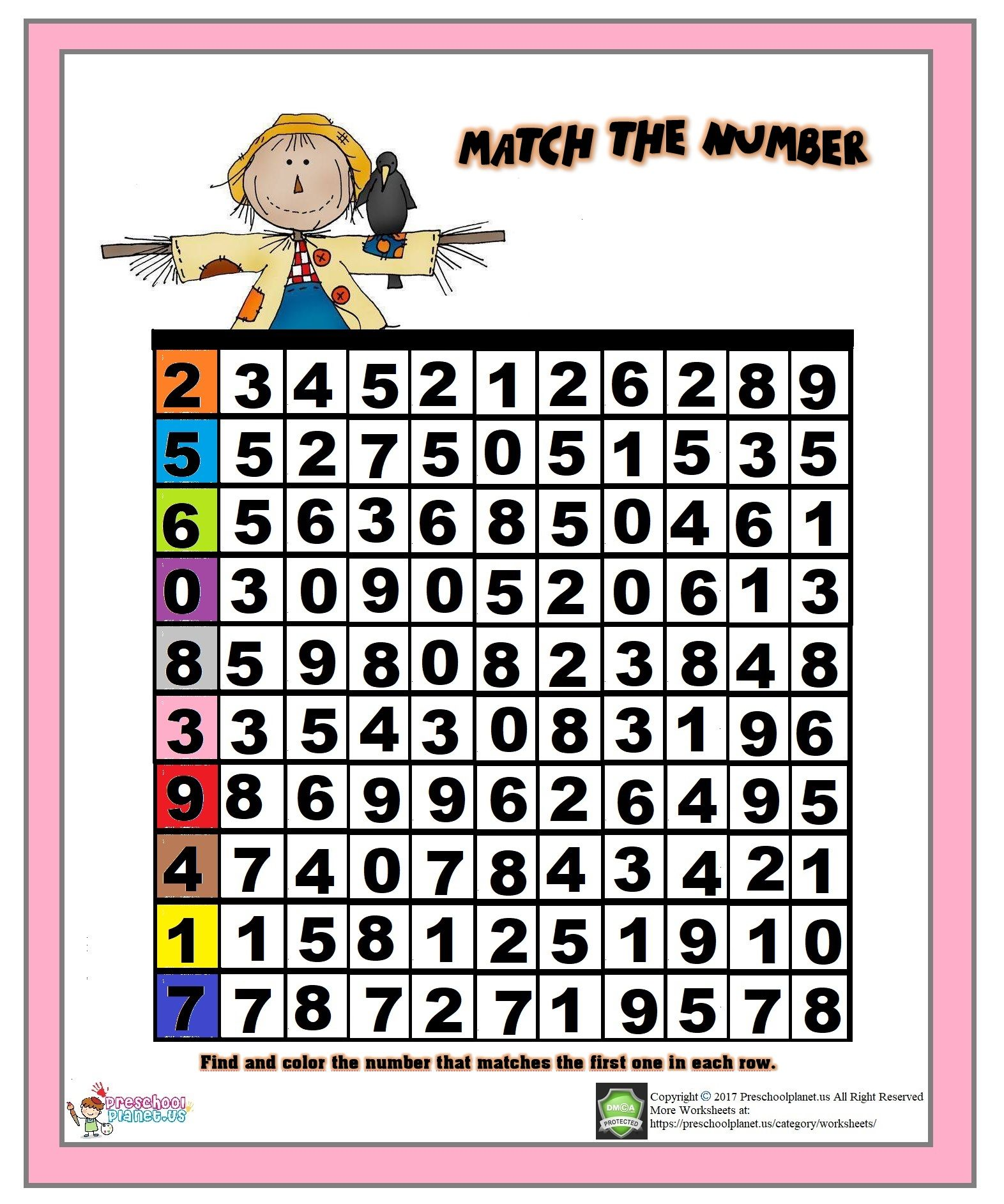 Number Matching Worksheet With Images