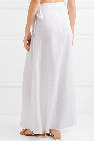 42a3d5d2781 Miguelina - Ballerina Linen Wrap Maxi Skirt - White