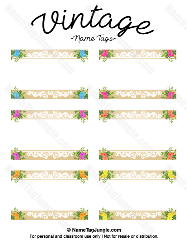 free printable vintage name tags the template can also be used for creating items like labels. Black Bedroom Furniture Sets. Home Design Ideas