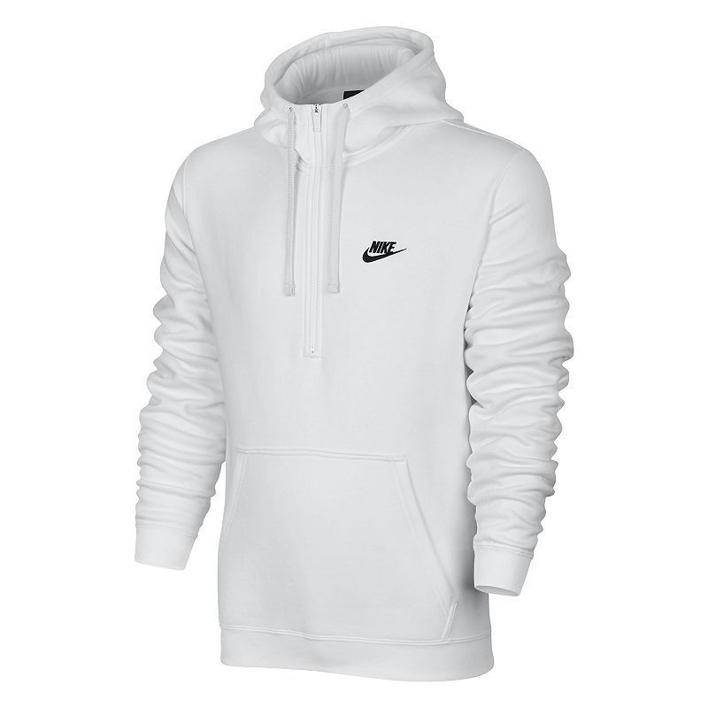 Men's Nike Club Half-Zip Fleece Hoodie, Size: Small, White