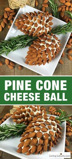 Pine Cone Cheese Ball Appetizer with Almonds Fun and Easy Christmas