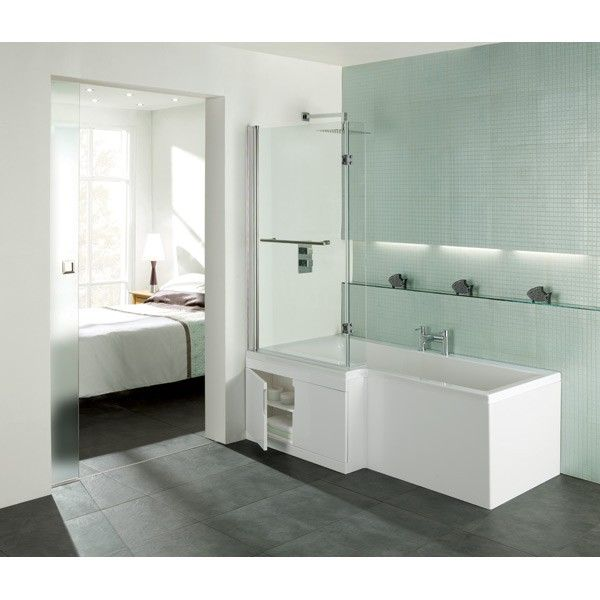 Moods L Shaped Shower Bath With Gloss White Storage Panel