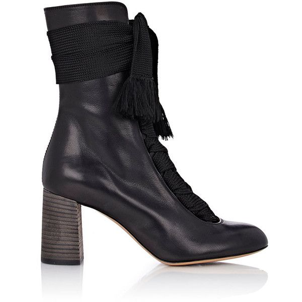 Chloé Leather Lace-Up Boots (€1.040) ❤ liked on Polyvore featuring shoes, boots, ankle booties, ankle boots, black, black ankle boots, high heel booties, lace up boots, short boots and black booties