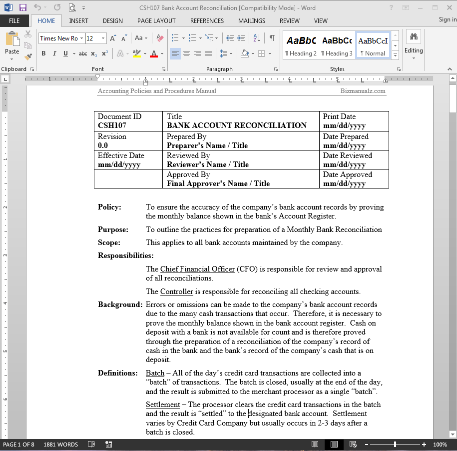Bank Reconciliation Accounting Word Templates | Business Processes ...
