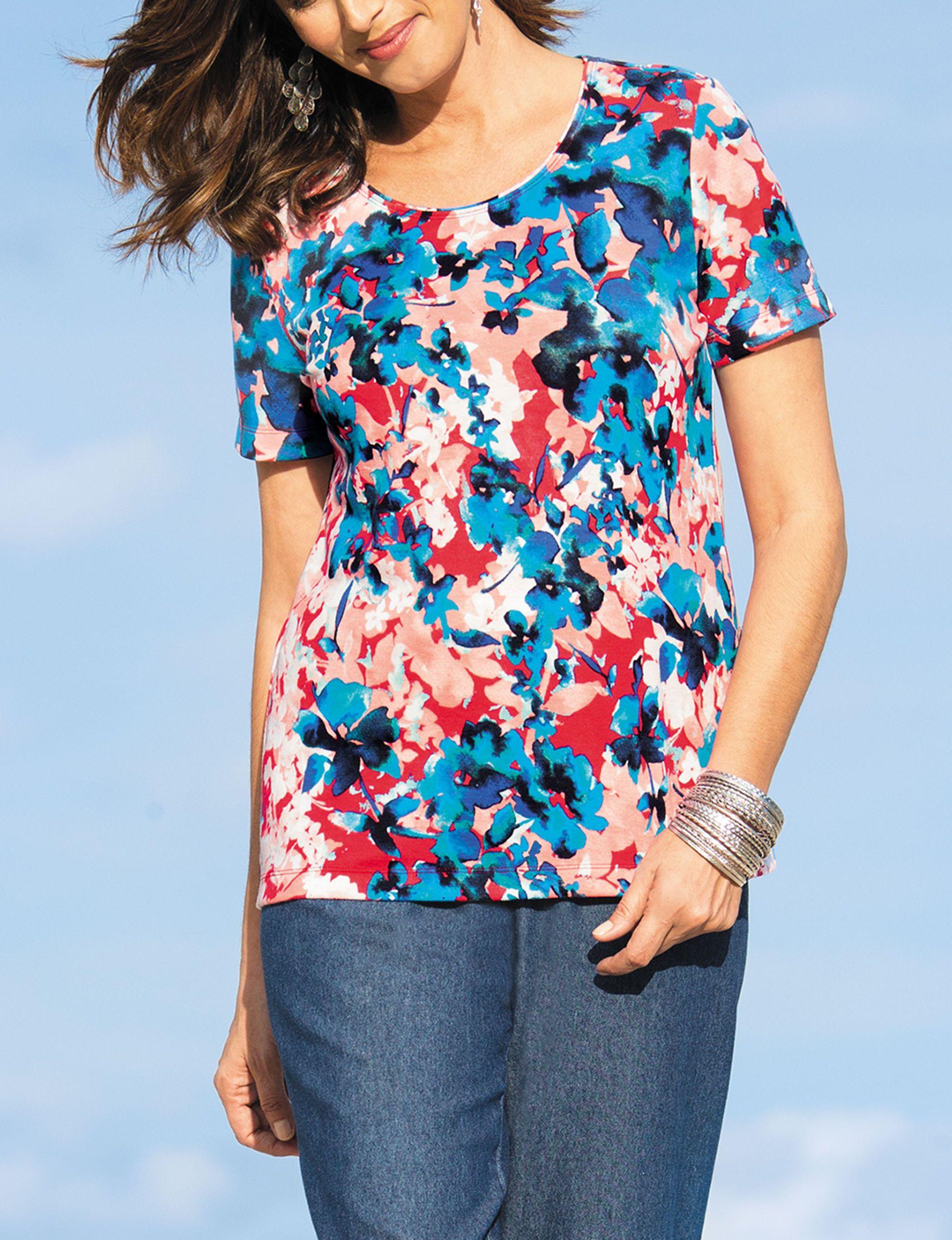 9e4b3a37ec4 Rebecca Malone Floral Print Knit Top