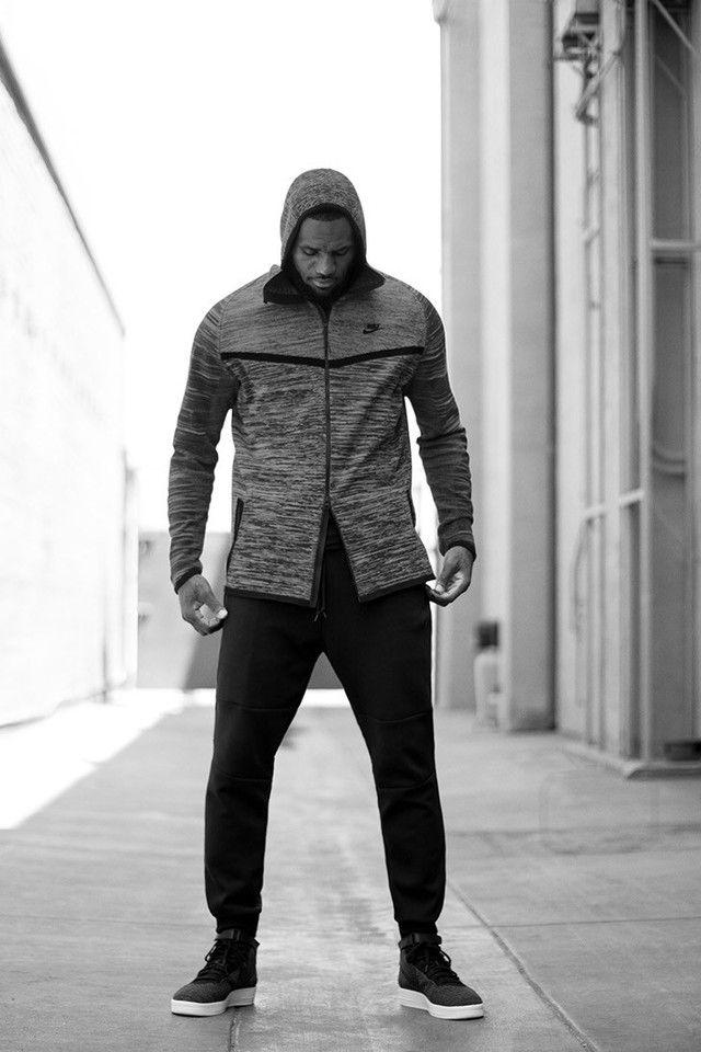 quality design 50b0f dd88a LeBron James wearing Nike Air Force 1 High Flyknit, Nike Tech Windrunner  Jacket, Nike Tech Fleece Pants