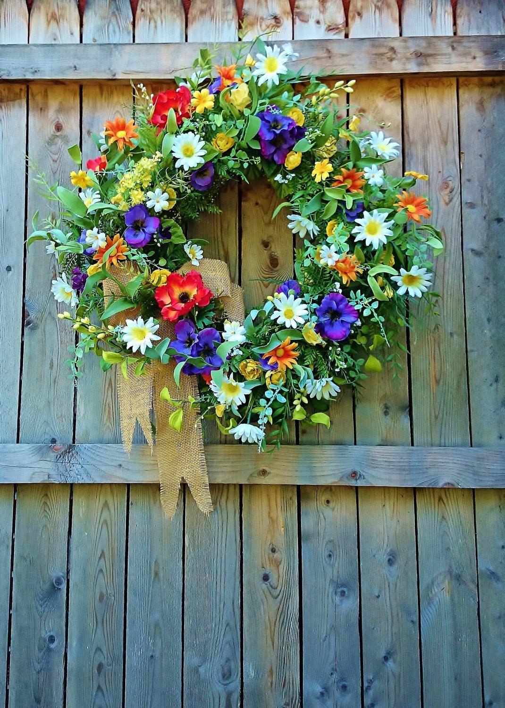 Summer Front Door Wreath, Floral Door Wreath Spring or Summer, Wildflower Door Wreath, Bright Colorful Door Wreath, Daisy Wreath,W176 by SweetLilysGarden on Etsy https://www.etsy.com/listing/385780670/summer-front-door-wreath-floral-door