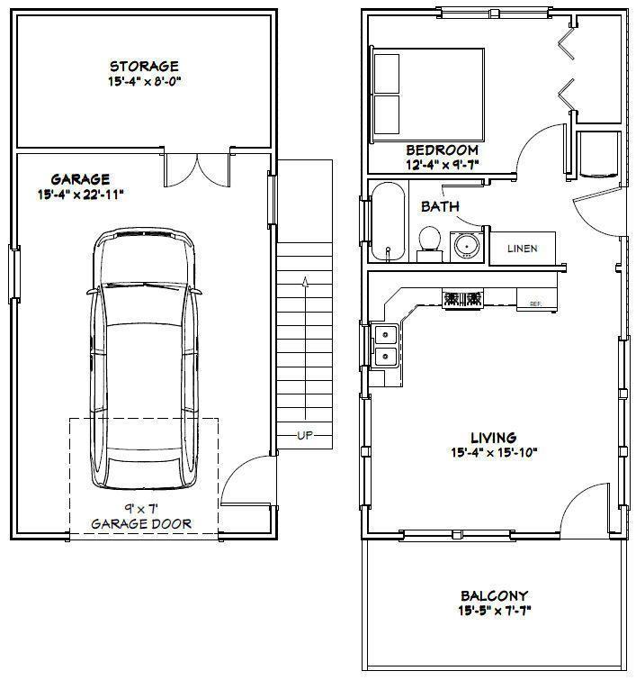 16x32 Tiny House PDF Floor Plan 647 sq ft Model 9B – 16 X 32 Garage Plans