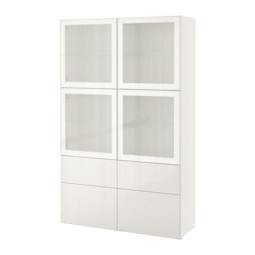 Vitrinekast Hoogglans Wit Ikea.Besta Opbergcombinatie Met Glazen Deuren Wit Selsviken Hoogglans
