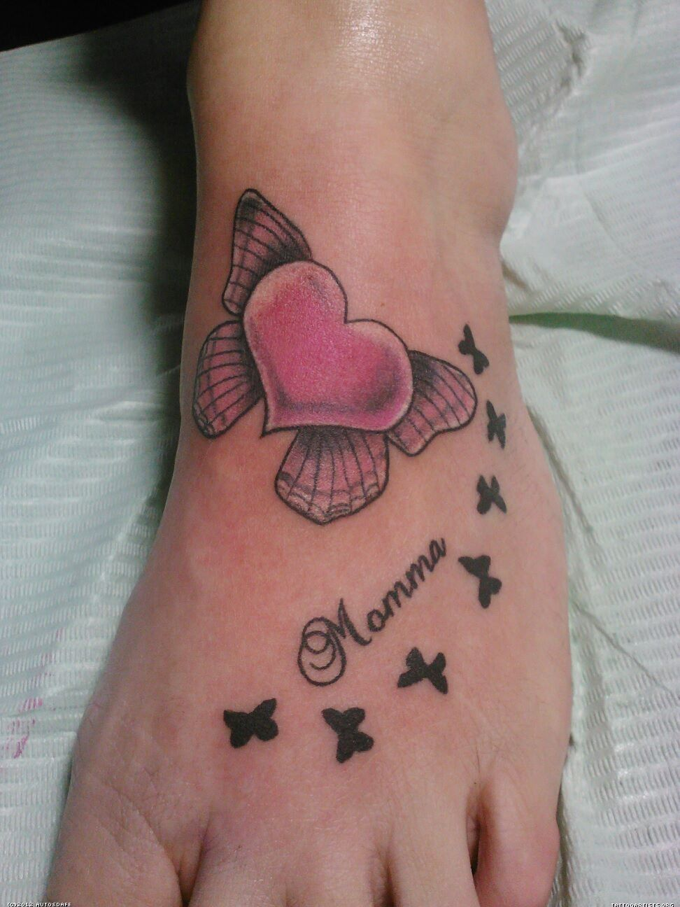 Mom Heart Tattoos Unique Tattoo Pictures Designs And - Cute heart butterfly memorial foot tattoo for mom