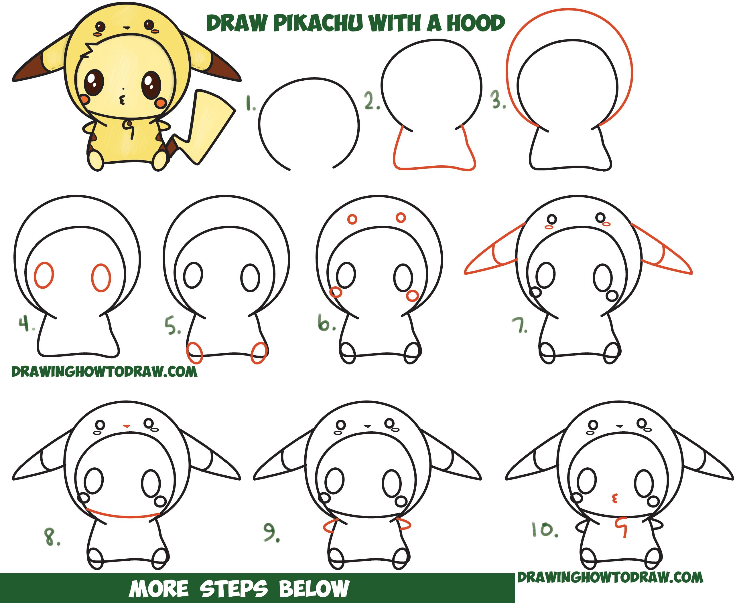 How to draw cute pikachu with costume hood from pokemon kawaii chibi style easy step by step drawing tutorial for kids and beginners