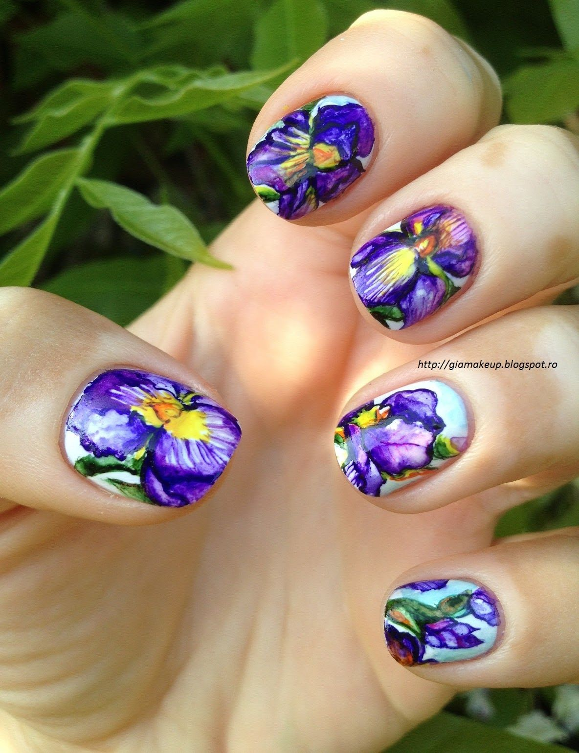 Iris Flowers Aquarelle Nail Designs Summer
