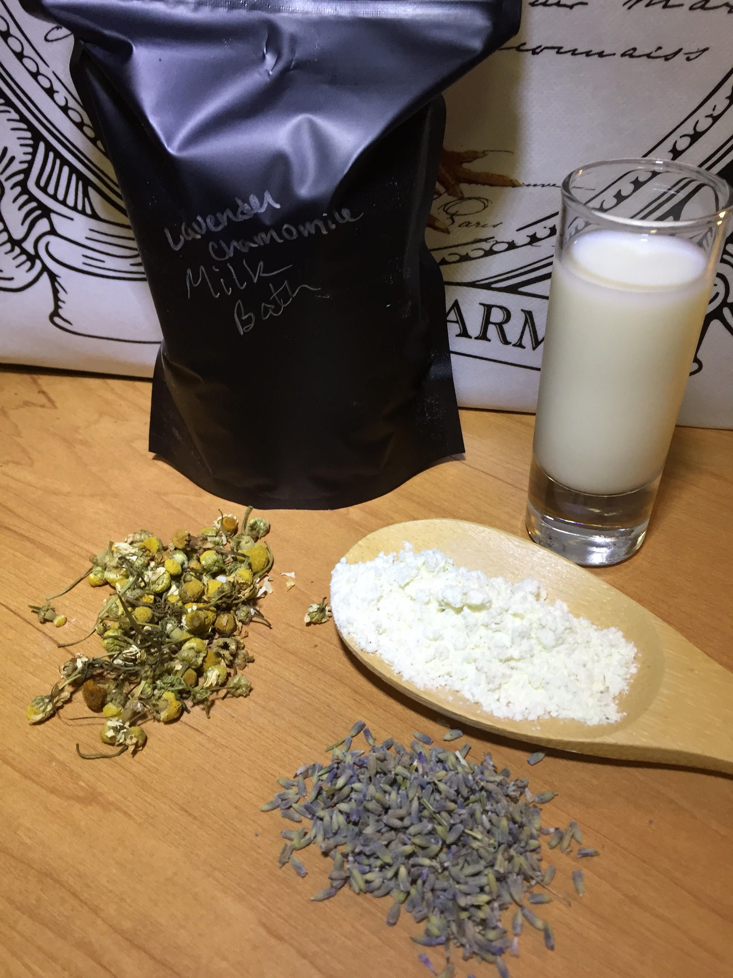 Soothing Lavender Chamomile Milk Bath 12oz Baby Bath Time Handmade Baby Clothes Unique Items Products Baby Bath Time