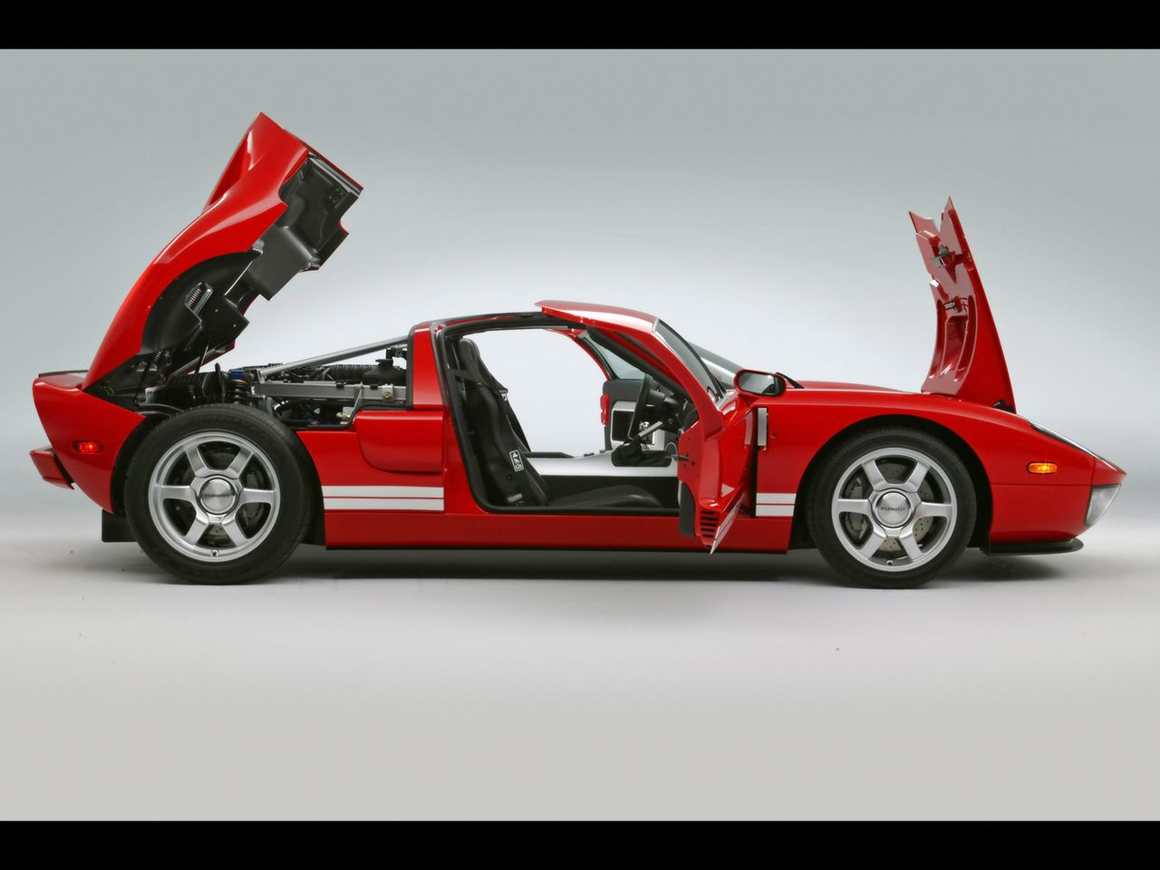 Ford Gt Red Side Doors Open